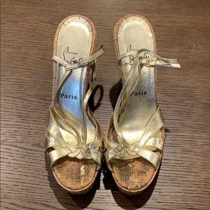 Christian Louboutin Gold Sandal Wedges.